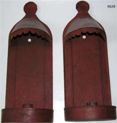 Nice Pr od Red Painted Tin Sconces