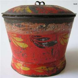 Red Toleware Sugar Bowl