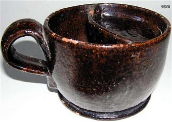 Early Redware Shaving Mug