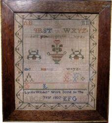 1807 New Jersey Wilde Family Sampler