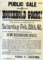 1892 Swedsboro NJ Auction Broadside