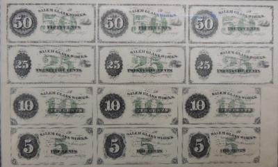 Uncut,Framed Sheet Glass House Currency, Salem