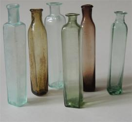Group of 6 Early Colored Medicine Vials