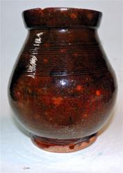 Early Small Ovoid Decorated Redware Jar