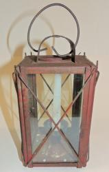 Red Painted Barn Lantern