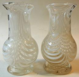 Scarce Pair SJ Nailsea Footed Vases